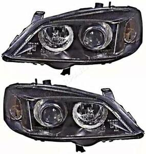 Opel Astra G 2000 2004 Electric Headlight Front Lamp Black Pair Left Right Lh Rh