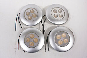 4 Led Interior Lighting Lamp Silver Frame Dome Round 2 8 W 12 24 V 92x26mm 4x