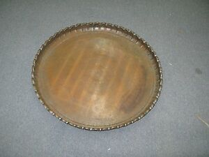 Huge Antique Islamic Middle Eastern Copper Table Tray Hand Made 26 Fluted Rim