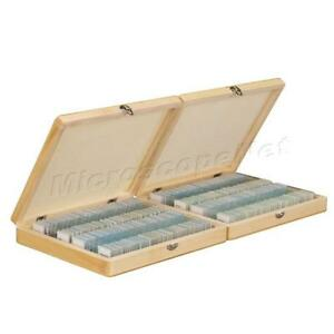 200pc Glass Prepared Basic Science Microscope Slides With Wooden Box