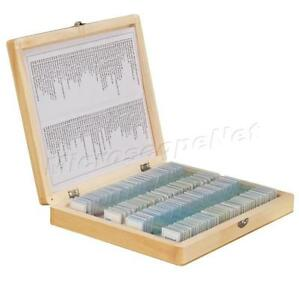 100pc Prepared Basic Science Microscope Slides Set B W Wooden Storage Box