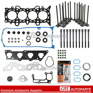 01 05 Honda Civic D17a1 Head Gasket Set Bolts Intake Exhaust Valves Silicone Kit
