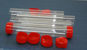 2 To 3 Clear Plastic Packing Storage shipping Tube W cap U pick Color Size