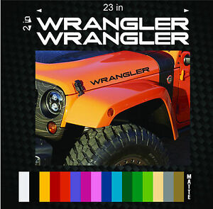 2 23 Wrangler Decal Set Jeep Stickers Hood Fender Graphic Tj Jk Cj Yj Rubicon