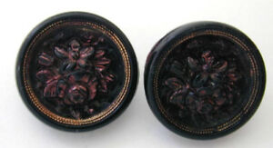 Pair Victorian Glass Buttons Raised Copper Luster Bouquet Gold Border