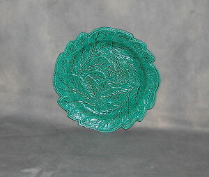 Antique English Pottery Creamware Green Glazed Leaf Plate