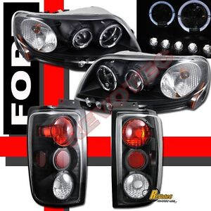 1997 2002 Ford Expedition Black Halo Led Projector Headlights Tail Lights