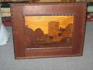 Antique Inlaid Marquetry Wood Inlay Burton Bradstock Signed Rowley Gallery Lable
