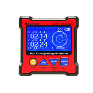 Dxl360s Digital Lcd Protractor Inclinometer Single Dual Axis Level Box 0 01