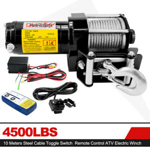 Offroad 4500lb Winch Atv Ute 12v Electric Remote Waterproof Boat Steel Cab