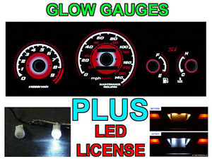 Type R Red Glow Gauge Led License Bulbs For 1999 2000 Honda Civic Si 9500 Rpm