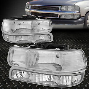 For 1999 2002 Chevy Silverado Chrome Housing Clear Corner Headlight Upper Lower