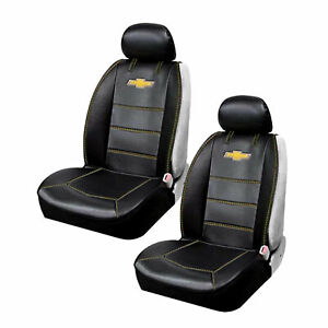 Chevy Bowtie Black Car Truck Suv 2 Front Synthetic Leather Side Seat Covers Set