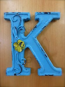 Blue Cast Iron Wall Letter K 6 5 Tall Rustic Vintage Decor Sign Child Nursery