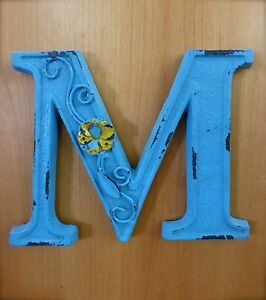 Blue Cast Iron Wall Letter M 6 5 Tall Rustic Vintage Decor Sign Child Nursery