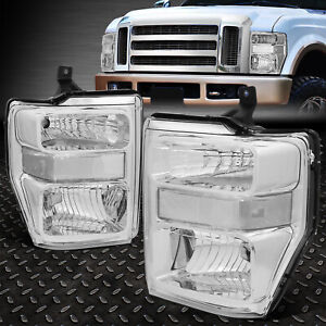 For 2008 2010 Ford Super Duty Pair Chrome Housing Clear Side Headlight lamp Set
