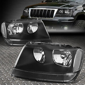 For 1999 2004 Jeep Grand Cherokee Black Housing Clear Corner Headlight lamp Set