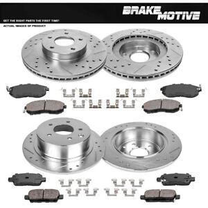 Front Rear Drill Slot Brake Rotors And Ceramic Pads Fit 2002 2003 2006 Altima