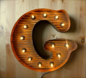 Lg Brown Vintage Style Light Up Marquee Letter G 24 Tall Novelty Rustic Sign