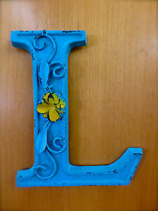 Blue Cast Iron Wall Letter L 6 5 Tall Rustic Vintage Decor Sign Child Nursery