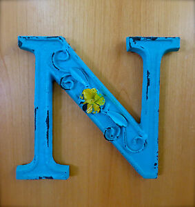 Blue Cast Iron Wall Letter N 6 5 Tall Rustic Vintage Decor Sign Child Nursery