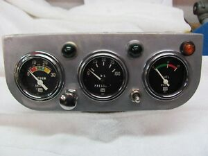 Vintage Eelco 3 Hole Panel With Stewart Warner Gauges Fuel Pressure Oil Vacuum