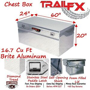 151601 Trailfx 60 X 24 Polished Aluminum Truck Bed Chest Tool Box