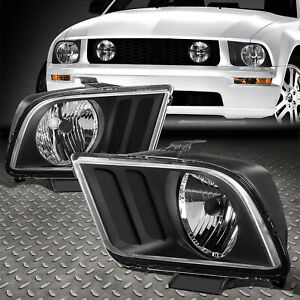 For 05 09 Ford Mustang S197 Pair Black Housing Headlight Replacement Head Lamps