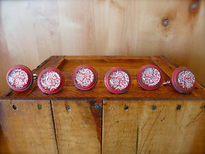 6 Red White Lace Glass Drawer Cabinet Pulls Knobs Vintage Restoration Hardware