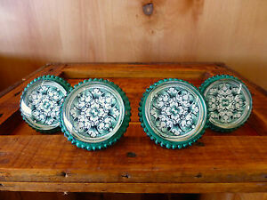 4 Lg Green Floral Glass Drawer Cabinet Pulls Knobs Vintage Shabby Chic Hardware