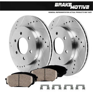 Front Drilled And Slotted Brake Rotors And Ceramic Brake Pads For Chevy Gmc