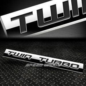 Metal Grill Trunk Emblem Decal Logo Trim Badge Polish Black Text Twin Turbo