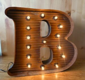 Lg Brown Vintage Style Light Up Marquee Letter B 24 Tall Novelty Rustic Sign