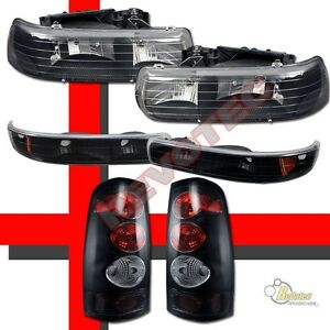 1999 2002 Chevy Silverado 1500 2500 Headlights Bumper Signal Tail Lights Black