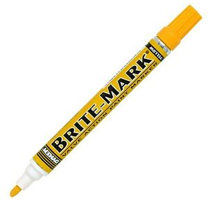 Dyken Brite Mark Paint Marker Yellow 12 Count For Vinyl Stone Glass Wood Leather