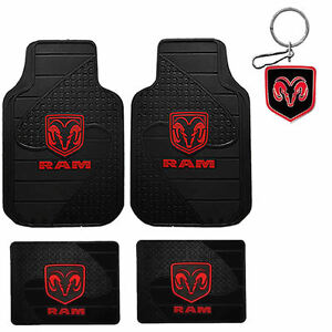 New Dodge Ram Factory Car Suv Truck Black Rubber Floor Mats Keychain Made In Usa