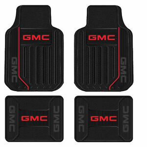 New Gmc Elite Logo Series Black Front Rear Rubber Floor Mats Made In Usa