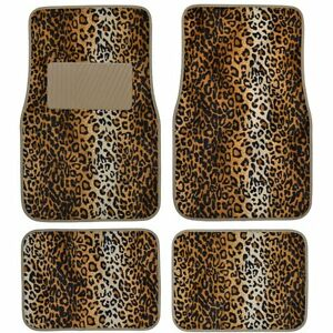 New Set Safari Beige Tan Leopard Print Front Rear Car Truck Carpet Floor Mats