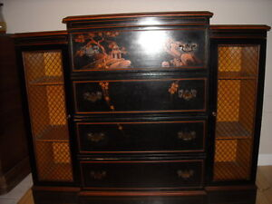 Beautiful Antique Union National Of Jamestown New York Dresser Desk Chinoiserie