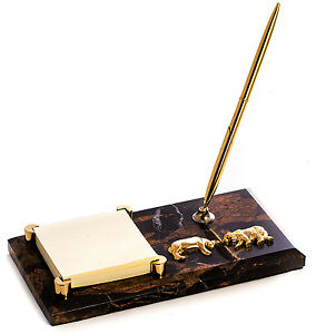 Desk Accessories wall Street Marble Pen Stand Memo Holder Bull And Bear
