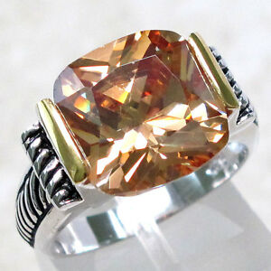 SPECIAL SALE $17.99 6 CT CHAMPAGNE COLOR STONE 925 STERLING SILVER RING SIZE 9 $17.99