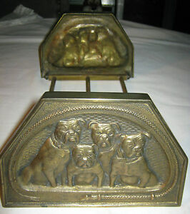 Antique Cjo Judd Cast Iron Dog Book Art Nouveau Rack Bookends Desk Holder Statue