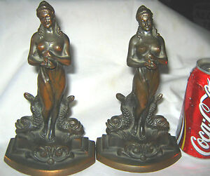 Antique Art Nouveau Nude Lady Art Statue Sculpture Bronze Dodge Fish Bookends