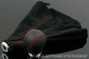 Ergonomic Custom Fit Round Black Leather Red Stitch Shift Knob Jdm Suede Boot