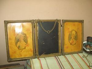Antique Tri Fold Folding Dresser Beveled Mirror 2 Celluloid Panel Brass Frame