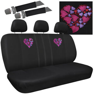 Car Seat Covers For Kia Soul Pink Embroidered Love Heart Logo Bench W Head Rests