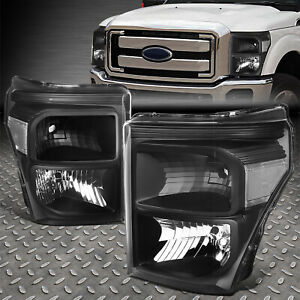 For 2011 2016 Ford Super Duty Pair Black Housing Clear Corner Headlight lamp Set