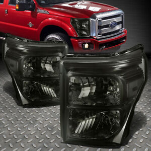 For 11 16 Ford F250 F350 Super Duty Smoked Housing Clear Corner Headlight Lamps