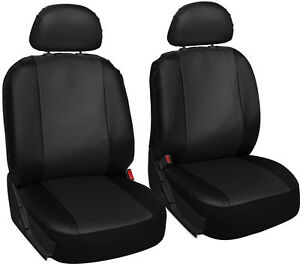 Faux Leather Car Seat Covers Solid Black 6pc Bucket Set W Head Rests