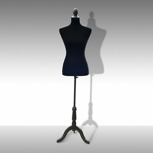 Adjustable Female Mannequin Torso Dress Form Display W Black Tripod Stand